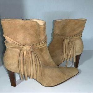 Antonio Melani suede tie fringe ankle boots